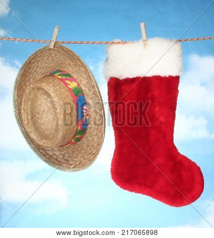 happy Merry X mas Hanging christmas decoration Christmas socks and Summer straw hat.