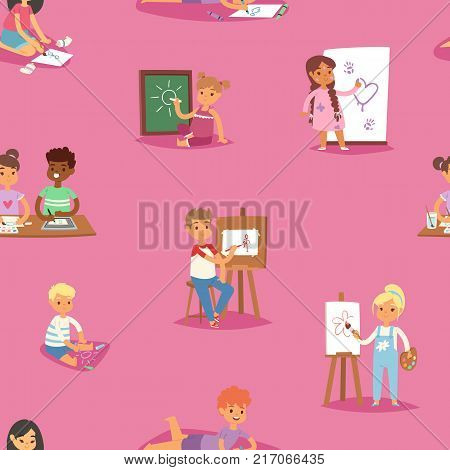 Artist vector kids children painting making art creative young artist with brushes and paint school kids set cartoon characters seamless pattern background.
