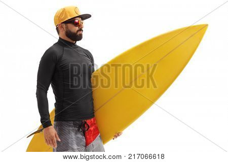 Surfer with a surfboard isolated on white background