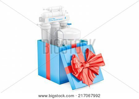 Reverse osmosis system inside gift box gift concept. 3D rendering