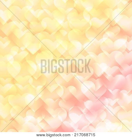 Light hearts bokeh on abstract colorful backdrop. Valentines pink background. Shiny hearts pattern on wedding background. Valentine Day vector illustration.