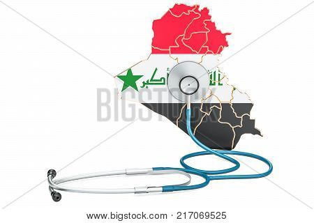 Iraqi map with stethoscope national health care concept 3D rendering