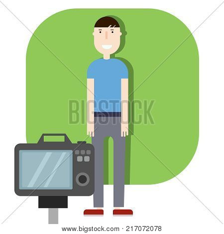 Male fashion model posing for photo in flat design people characters, vector glat illustration, banner, promo