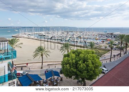 MALLORCA BALEARIC ISLANDS SPAIN - SEPTEMBER 22 2017: Can Pastilla beach and marina view from above on September 22 2017 in Mallorca Balearic islands Spain.
