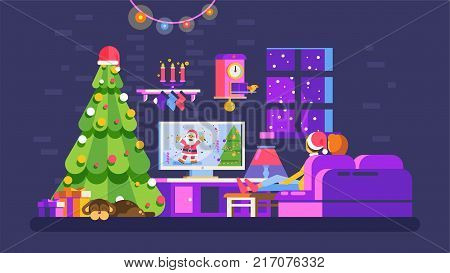 Stock vector illustration cozy Christmas evening home interior, lovers sit on couch watch TV with Santa Claus in New Year Eve festive night, dog near Xmas tree for Motion Design flat style dark background