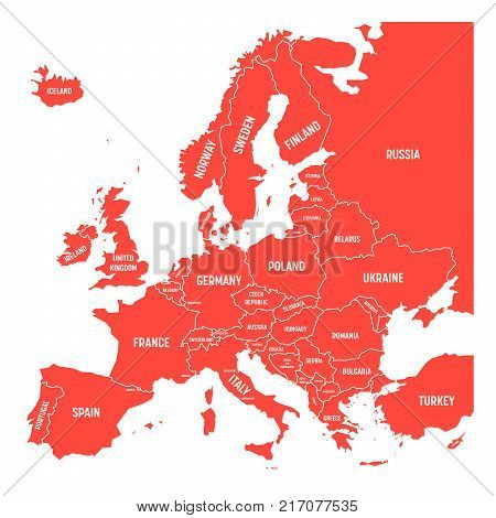 Map of Europe with names of sovereign countries, ministates included. Simplified red vector map on white background.