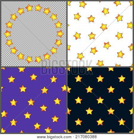 Set of Universal Different Seamless Patterns and Circle Frame of Bright Yellow Stars. Collection of Continuous Starry Backgrounds and Border.