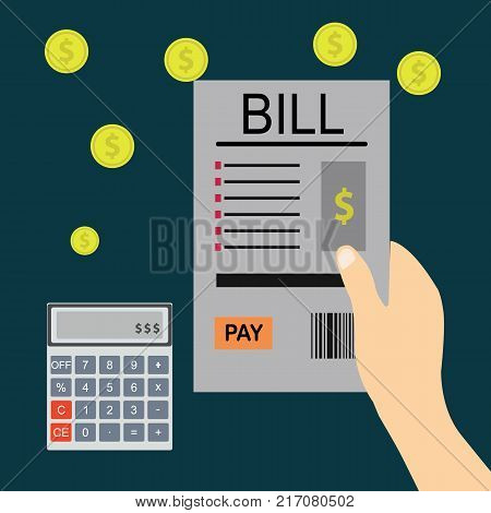 Paying bills hand holding bills vector.Mobile payment concept. flat vector illustration