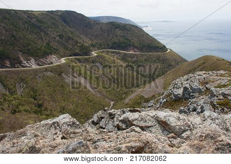 Serpentine highway of Cabot Trail in Nova Scotia