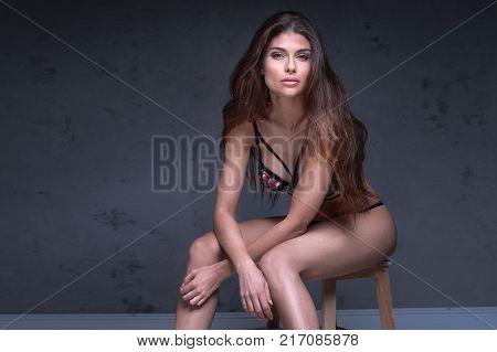 Sensual Brunette Lady In Lingerie.