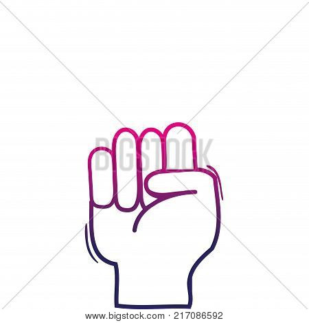 color line hand with oppose gesture symbol communication vector illustration