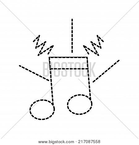 dotted shape musical note sign to rhythm sound vector illustration