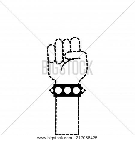 dotted shape hand with bracelet and oppose gesture symbol vector illustration