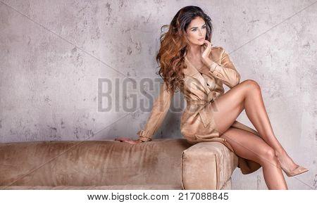 Sensual Brunette Lady Posing In Studio.