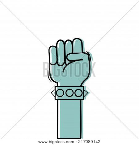 color hand with bracelet and oppose gesture symbol vector illustration