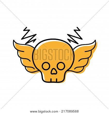 color skull with wings rock art symbol vector illustration