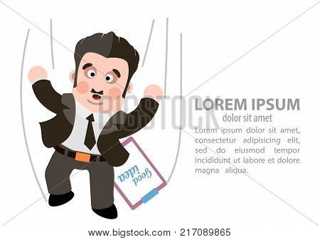Man flying down the career. Vector illustration.
