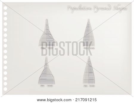 Population and Demography, Illustration Paper Art Craft of 4 Types of Population Pyramid Charts or Age Structure Graphs