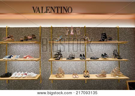 ROME, ITALY - CIRCA NOVEMBER, 2017: Valentino shoes on display at a second flagship store of Rinascente in Rome.