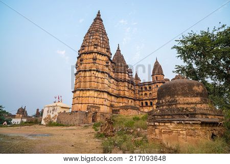 Orchha Cityscape, Hindu Chaturbhuj Temple. Also Spelled Orcha, Famous Travel Destination In Madhya P