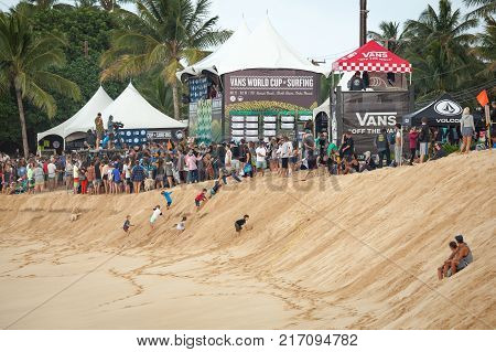 SUNSET BEACH HAWAII USA - DECEMBER 2, 2017: Judges stands at the 2017 Vans World Cup of Surfing competition at Sunset Beach on Oahu's scenic North Shore.