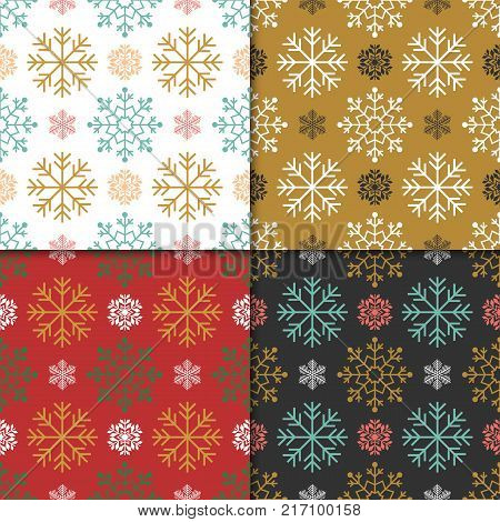 Christmas And Happy New Year Seamless Pattern Set. Winter Holiday Pattern With Snowflake And Ornamen