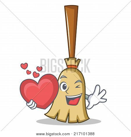 With heart broom character cartoon style vector illustration