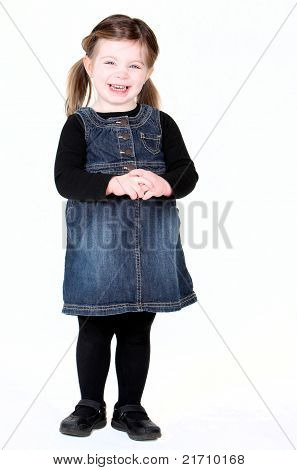 Cute Little Girl With Hands Clasped On White