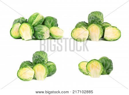Brussels sprouts isolated on a white background. Pile of Brussels sprouts isolated. Closeup.