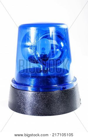 Police strobe studio photo. Emergency Light blue, spinning beacon. Glowing siren for cars. Fire protection signs. Isolated on white background. Blue cop siren.