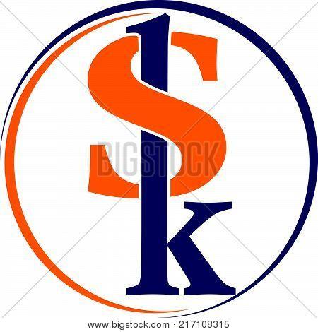 Modern Solution Letter S K Logo Design Template Vector