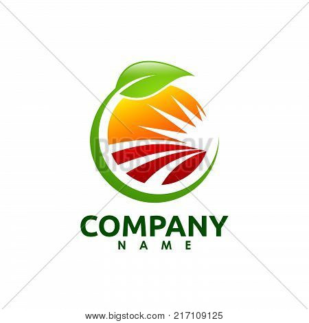 Farm fresh products unique sign or icon image. Plant sprout and sun symbol. Organic farming logo design idea. Agriculture logo design. Logo template for fresh farm food. Green products logo.