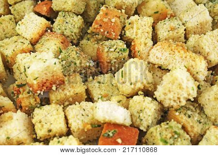 Crouton dried bread food pattern as background. Croutons. Food photo.