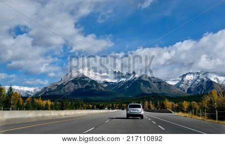 Road trip to Canadian Rockies. Scenic drive Icefield Parkway with beautiful mountains view in a sunny day. Banff National Park. Alberta. Canada.