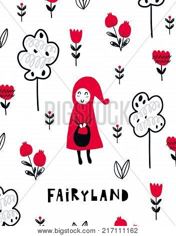 Vector poster with phrase, girl and decor elements. Typography card, color image. Fairyland. Design for t-shirt and prints.