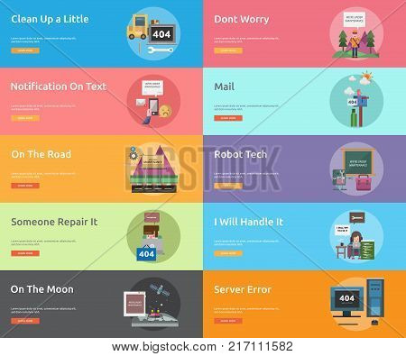 Web Maintenance Banner Design | Set of great banner design illustration concepts for maintenance, website, internet, network and much more.