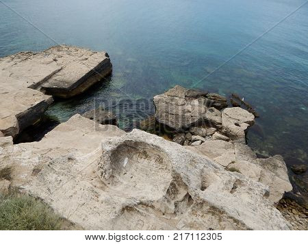 Rocky shore of the Caspian Sea. View from above. Kazakhstan.