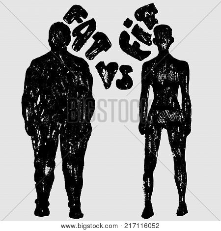 Fat vs Fit vector woman silhouette. A slim and fat woman, vector texture illustration, black and white
