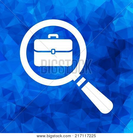 white magnifying glass with flat portfolio briefcase icon on a blue Triangular Polygonal background, search icon design, search icon web, vector magnifying glass