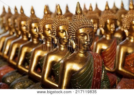 Gold Buddha statues sitting in row on white background. Statues in Buddhist Thailand temple or wat are public domain or treasure of Buddhism no restrict in copy or use.