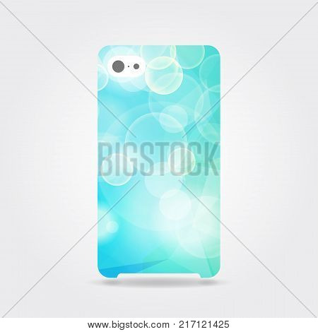 Blue sparkling phone case. Blue polygonal template cover phone or case smartphone with bubbles. Mobile phone modern cover back