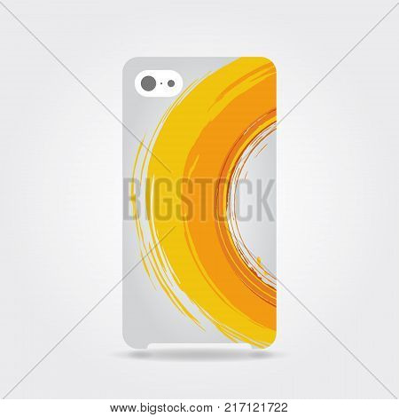 Phone case with orange grunge circle brush strokes  for frames, icons, design elements. Orange template cover phone or case smartphone. Mobile phone modern cover back