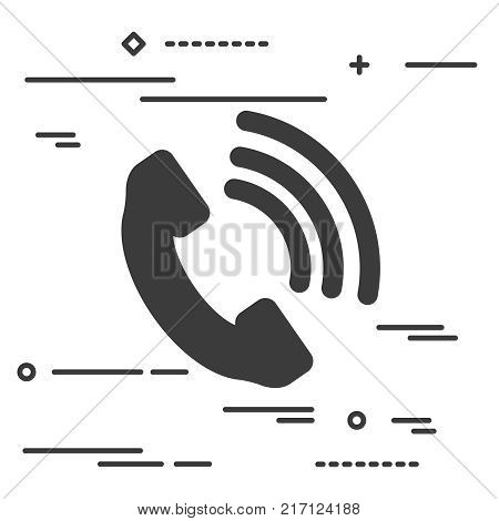 Telephone receiver vector icon - thin line art design