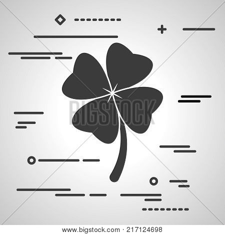 Flat Line art design graphic image concept of Clover with four leaves sign icon on a grey background. Saint Patrick symbol