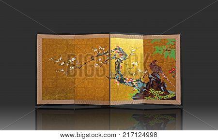 BANGKOK THAILAND - November 30 2017 : Japanese Art Japanese folding screen with japanese style painting isolated on gray background. Illustrative editorial