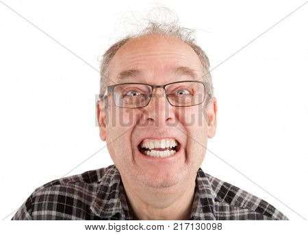 A man is making funny faces