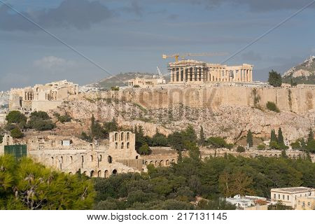 Athenian Acropolis view from philopappos hill, Greece