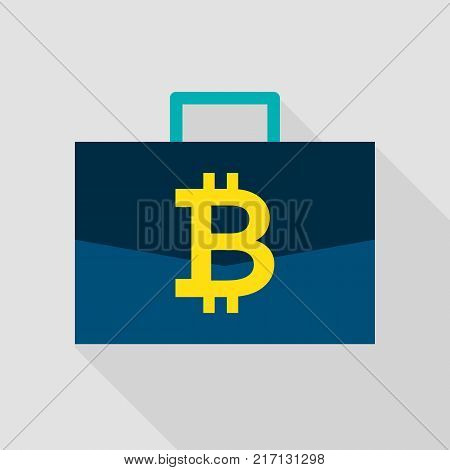 Bitcoin Suitcase Flat Icon. Vector Illustration with Long Shadow. Cryptocurrency Money.