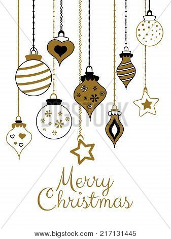 Vector Gold Greetings Cards For Merry Christmas With Balls Tree Flower Garlands Text For Print And W
