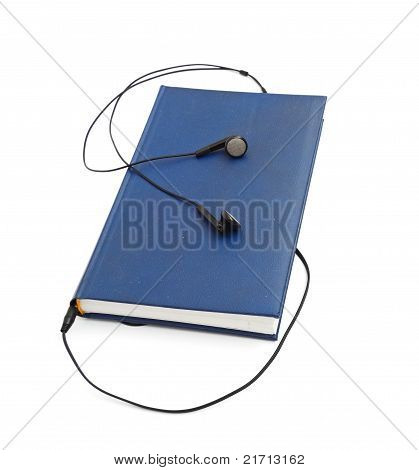 poster of headphones and books (audio book concept) isolated